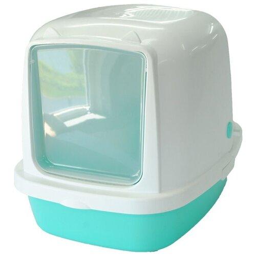 Туалет-домик для кошек Homecat 3519974/3519967/3519967_зеленый/3519950/3519943 53х39х48 см бирюзовый 1 шт.