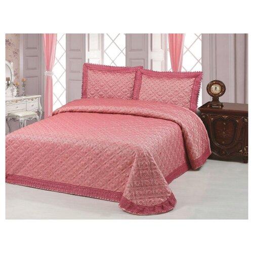 Комплект с покрывалом Cleo Жаккард 240х260 см, розовый/красный