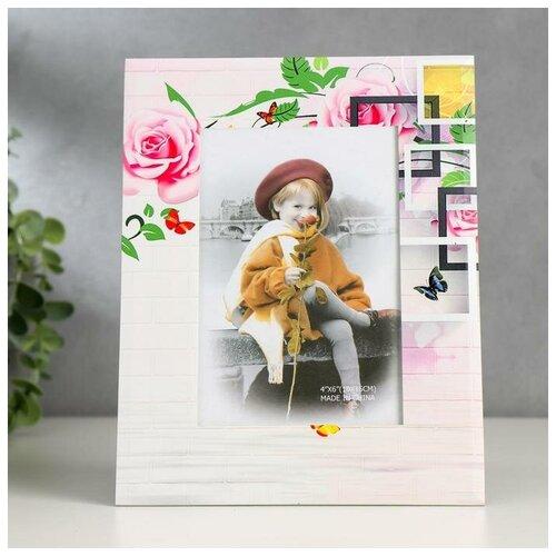 Фоторамка Yiwu Zhousima Crafts Розы геометрия 10х15 см разноцветный