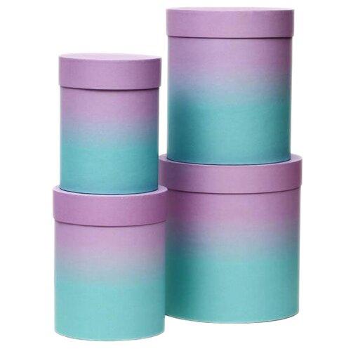 Набор подарочных коробок Мишель Фокс №84, 4 шт лилово-мятный