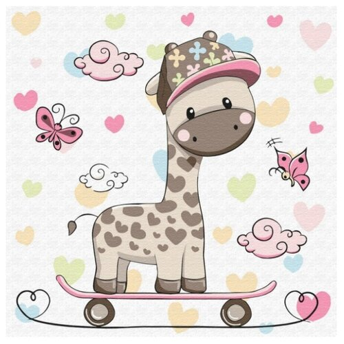 Купить Molly Картина по номерам Жирафик на скейтборде 20х20 см(KH0451), Картины по номерам и контурам