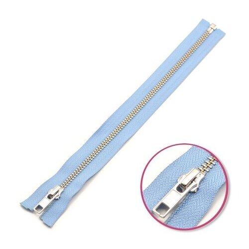 Купить YKK Молния разъёмная 0573985/55, 55 см, пастельно-голубой/анти-никель, Молнии и замки