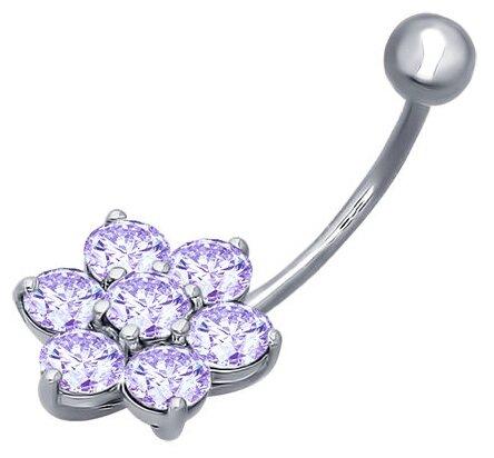 SOKOLOV Пирсинг в пупок из серебра с сиреневыми фианитами 94060042
