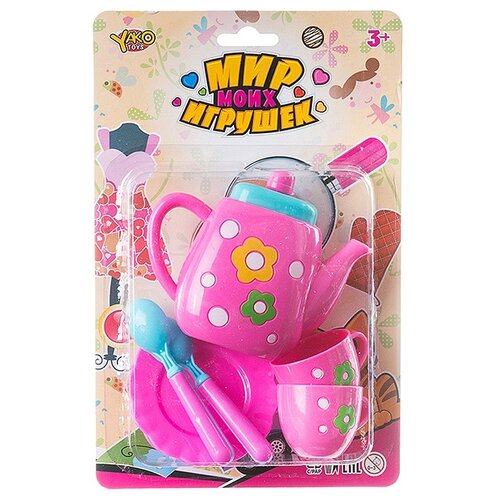 Фото - Набор посуды Yako Мир моих игрушек Д88712 розовый/голубой набор машин yako мир моих игрушек m7558 1 белый