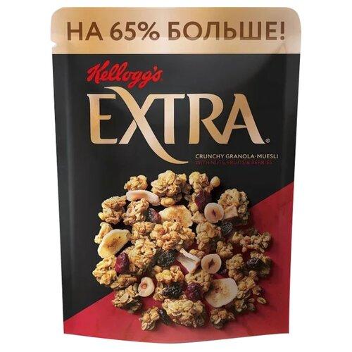 Гранола Kellogg's хлопья с орехами, фруктами, ягодами, дой-пак, 500 г гранола verestovo хлопья персик клюква семена тыквы дой пак 300 г