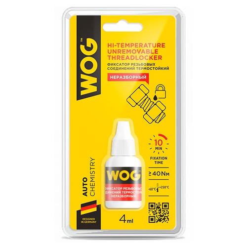Фиксатор резьбовых соединений сильной фиксации неразъемный WOG WG0730 красный 4 мл