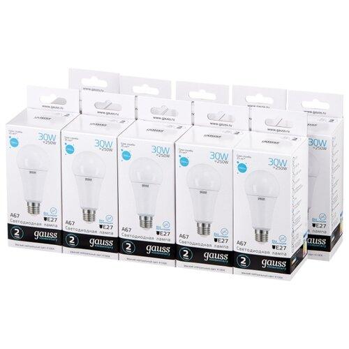 Упаковка светодиодных ламп 10 шт gauss 73229, E27, A67, 30Вт