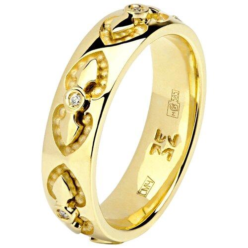 Эстет Кольцо с 6 бриллиантами из жёлтого золота 01О630329, размер 16.5