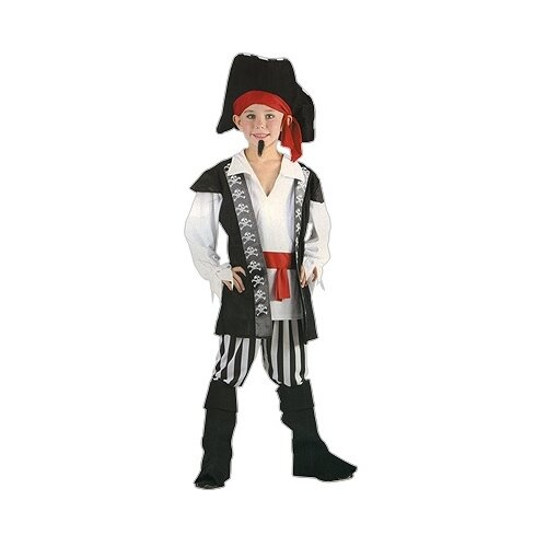 Костюм SNOWMEN Пиратский капитан Е92148, белый/черный/красный, размер 4-6 лет костюм snowmen человек огонь е94758 красный черный размер 4 6 лет