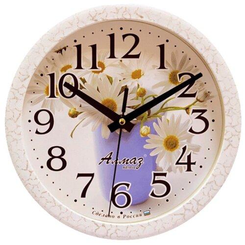 Часы настенные кварцевые Алмаз E29 белый