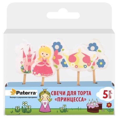 Paterra Свечи для торта Принцесса (5 шт.) розовый/белый/желтый/голубой