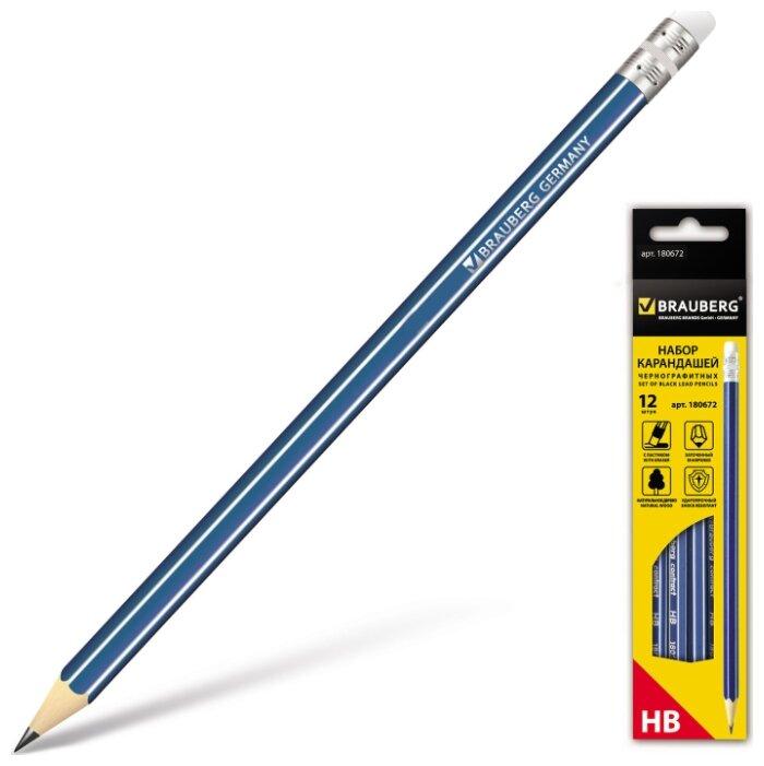 BRAUBERG Набор чернографитных карандашей ZTX 12 штук (180672)