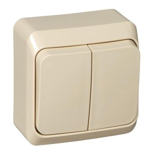 Выключатель 2х1-полюсный Schneider Electric BA10-002K,10А, слоновая кость выключатель 2х1 полюсный schneider electric sedna sdn0300321 10а белый