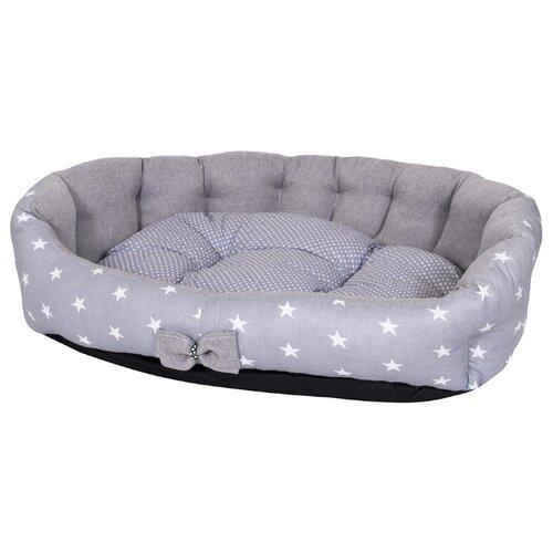 Лежак для собак и кошек HutPets MiniCot S 50х45 см Gray Stars