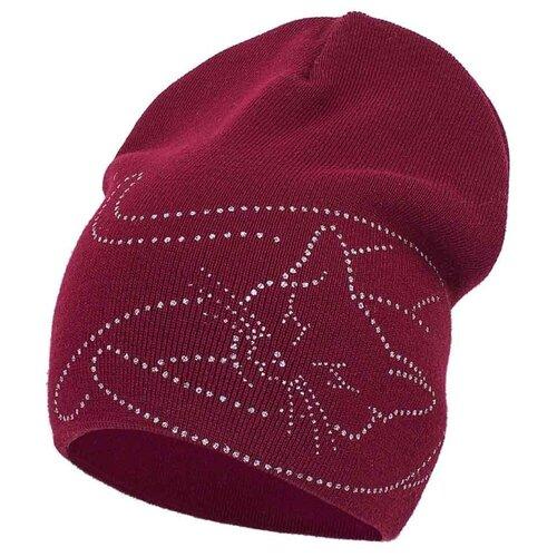 Шапка-бини Prikinder размер 54, бордовый шапка бини prikinder размер 52 54 джинса