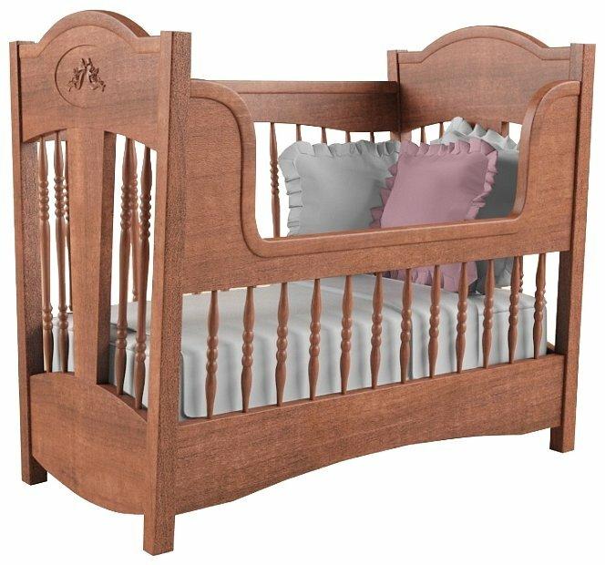 Кроватка Nom du Bebe Классика (стандартная, красное дерево) (классическая)