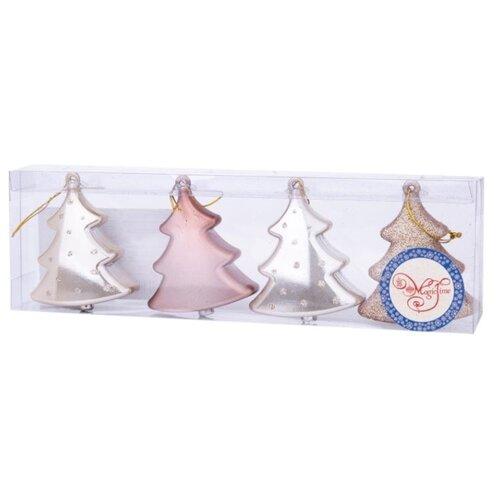 Набор елочных игрушек Magic Time Персиковые елочки (80644) серебристый/золотистый/розовый