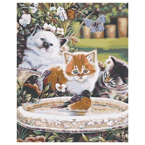 Купить Веселая прогулка в саду Раскраска картина по номерам на холсте KTMK-54066 40х50, Живопись по номерам, Картины по номерам и контурам