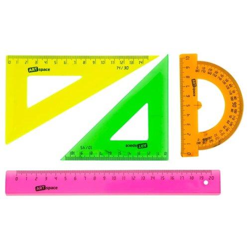 ArtSpace Набор чертежный флуоресцентный 4 предмета (256258) розовый/зеленый/оранжевый/желтый jd коллекция флуоресцентный оранжевый женщина 36