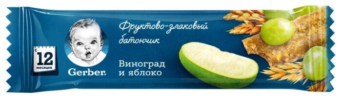 Батончик Gerber фруктово-злаковый с яблоком и виноградом (с 1-го года)