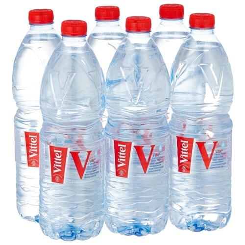 Минеральная вода Vittel негазированная, ПЭТ, 6 шт. по 1 л