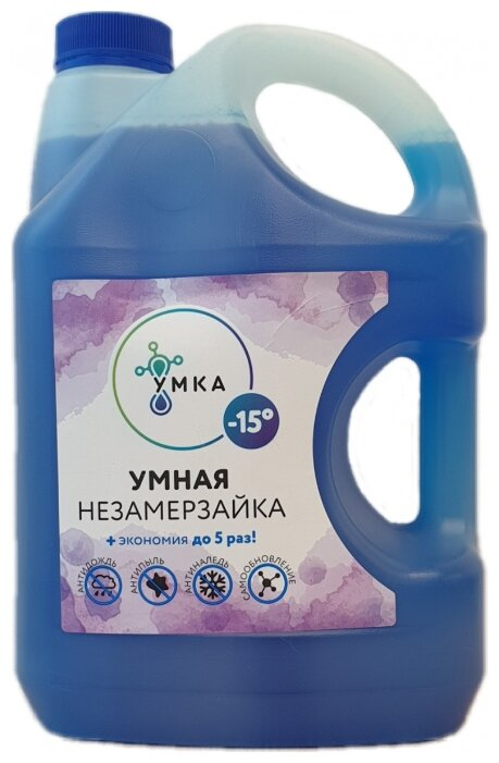 Жидкость для стеклоомывателя Умка Умная незамерзайка, -15°C, 3 л
