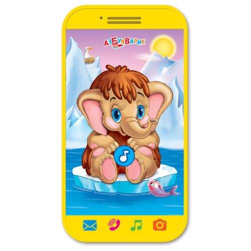 Развивающая игрушка Азбукварик Мини-смартфончик Мамонтенок желтый
