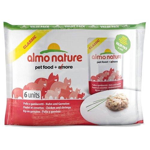 Фото - Корм для кошек Almo Nature Classic с курицей, с креветками 6шт. х 55 г консервы для кошек almo nature нежный мусс с уткой 85 г