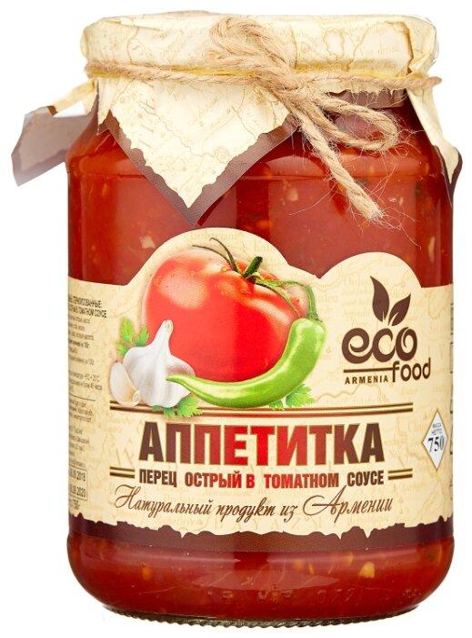 Аппетитка перец острый в томатном соусе Ecofood стеклянная банка 750 г