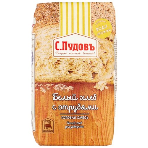 С.Пудовъ Смесь для выпечки хлеба Белый хлеб с отрубями, 0.5 кг
