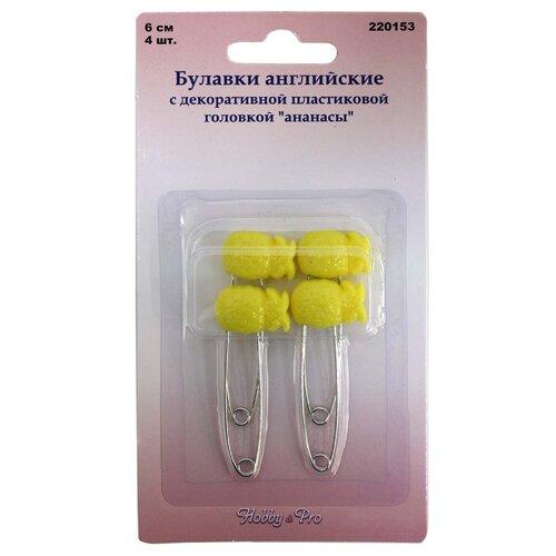 Купить 220153 Булавки английские с декоративной пластиковой головкой 'Ананасы', 4 шт., Hobby & Pro, Иглы
