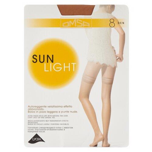 Чулки Omsa Sun Light Aut 8 den, размер 4-L, beige naturel (бежевый) колготки omsa sun light 8 beige naturel бежево телесные размер 4
