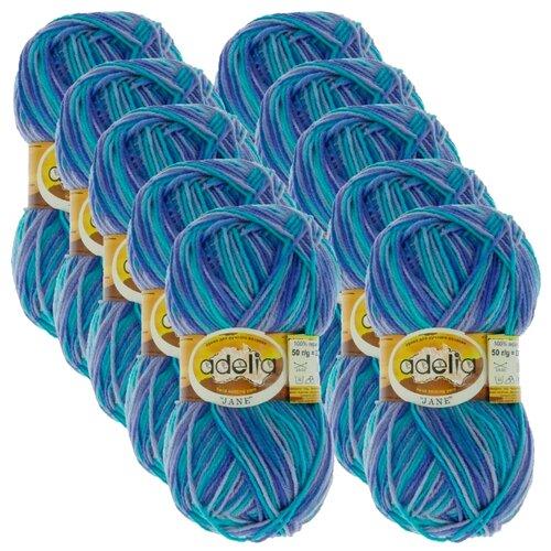 Купить Пряжа Adelia Jane, 100 % акрил, 50 г, 227 м, 10 шт., 20 св.фиолетовый-синий-св.бирюзовый