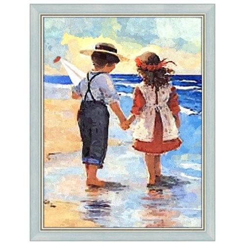 Купить Алмазная живопись Набор алмазной вышивки Дети у моря (АЖ-1300) 30x40 см, Алмазная вышивка