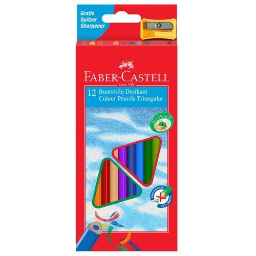 Faber-Castell Карандаши цветные трехгранные с точилкой 12 цветов (120523) faber castell цветные карандаши faber castell jumbo grip metallic 5 цветов