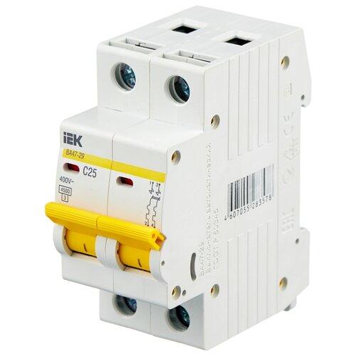 Автоматический выключатель IEK ВА 47-29 2P (C) 4,5kA 25 А автомат iek 1п c 16а ва 47 100