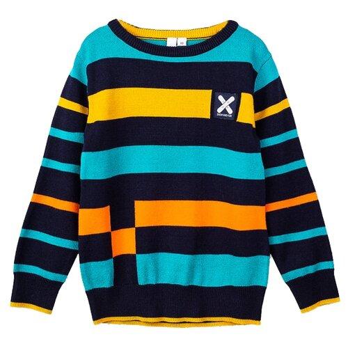 Купить Джемпер playToday размер 116, темно-синий/голубой/оранжевый, Свитеры и кардиганы