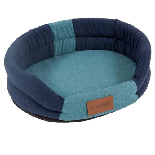 Лежак для собак и кошек Katsu Animal S 65х54 см синий/голубой