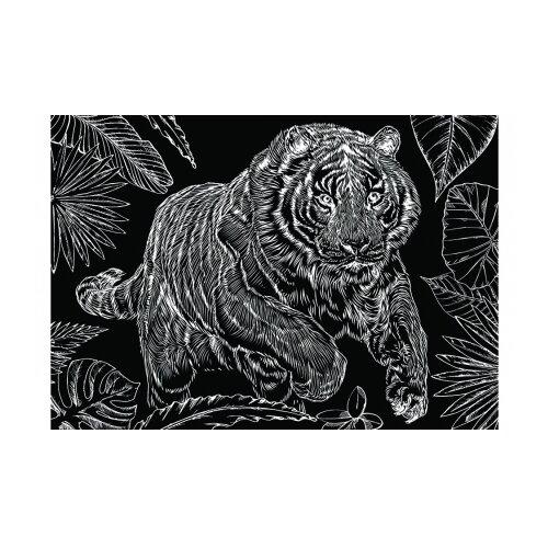 Фото - Гравюра Рыжий кот Тигр на охоте, в пакете с ручкой (Г-9418) золотистая основа гравюра рыжий кот зайчик в пакете с ручкой г 9449 цветная основа