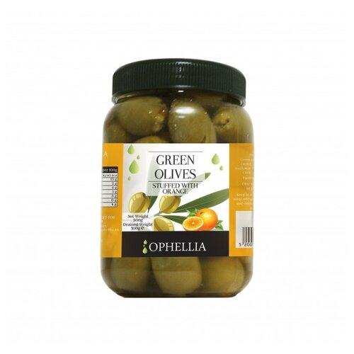 Ophellia Зеленые оливки фаршированные апельсином, пластиковая банка 500 г