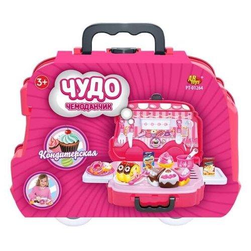 Купить Набор продуктов с посудой ABtoys Кондитерская PT-01264 розовый, Игрушечная еда и посуда