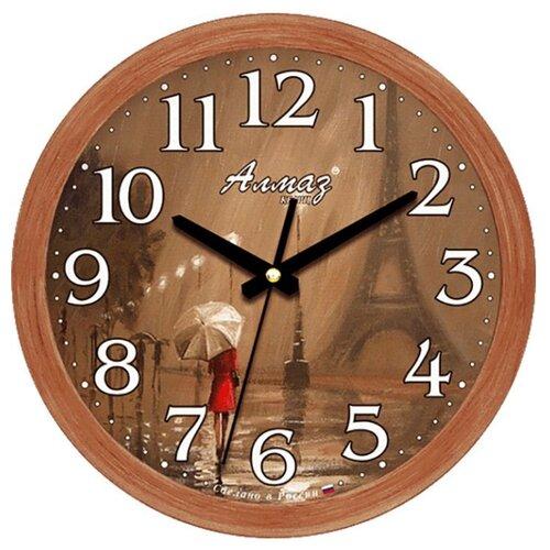 Часы настенные кварцевые Алмаз B21 коричневый
