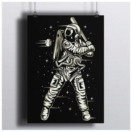 Постер Космический Бейсбол 50х70 см.В Рамке