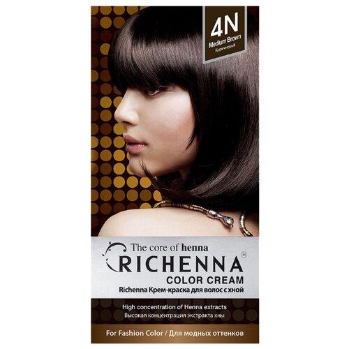 Richenna Крем-краска для волос с хной, 4N brown
