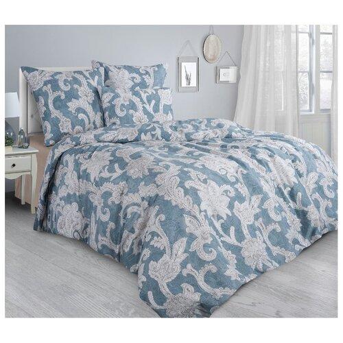 Постельное белье евростандарт Guten Morgen Borghese 861 70х70 см, сатин синий/серый/бежевый