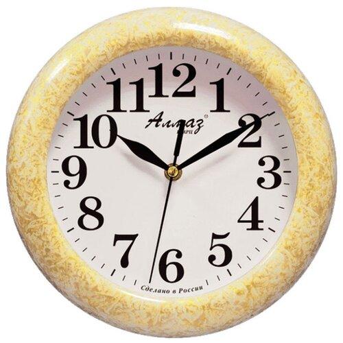 Часы настенные кварцевые Алмаз P04-P10 желтый/белый часы настенные кварцевые алмаз p04 p10 бежевый белый