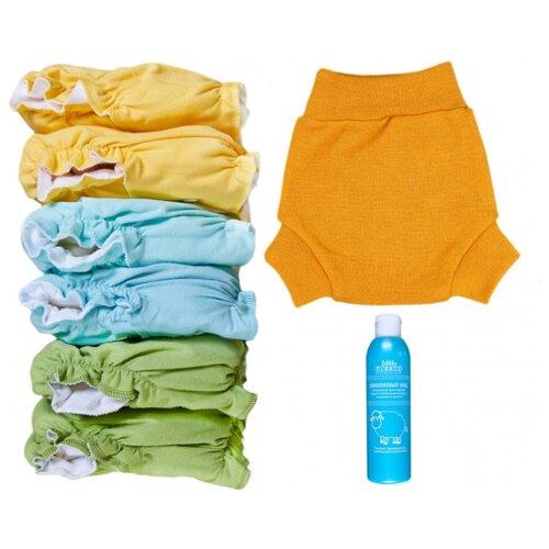 Купить Little Pirate подгузники многоразовые (5-18 кг) 6 шт. + пеленальные штанишки S (3-8 кг) 1 шт. шафран, Подгузники