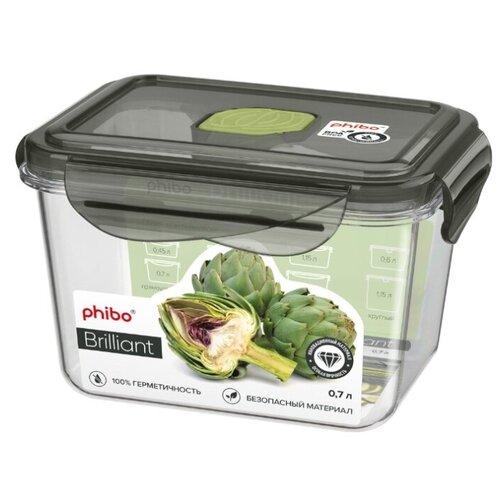 Phibo Контейнер Brilliant прямоугольный 0.7л черный/бесцветный контейнер прямоугольный dosh i home контейнер прямоугольный