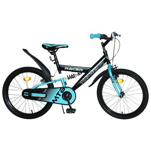Подростковый горный (MTB) велосипед Top Gear Racer (BH20199) черный/голубой (требует финальной сборки) top gear велосипед 24 mystic 110 18 скоростей белый вн24058