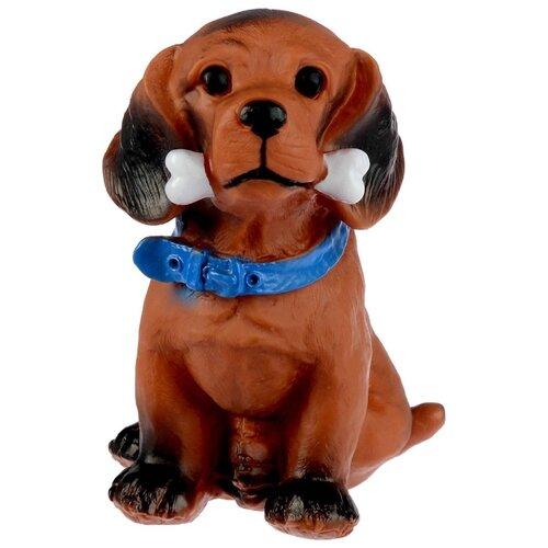 Игрушка для собак Пижон большая Пес с косточкой (3122066) коричневый